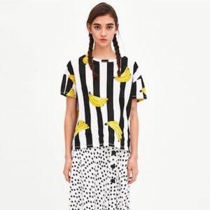 Zara Black & White Striped Banana T Shirt